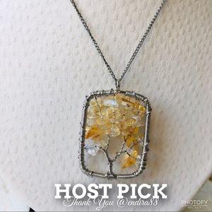 Jewelry - ~HP~ Handmade Tree Of Life Citrine Quartz Necklace